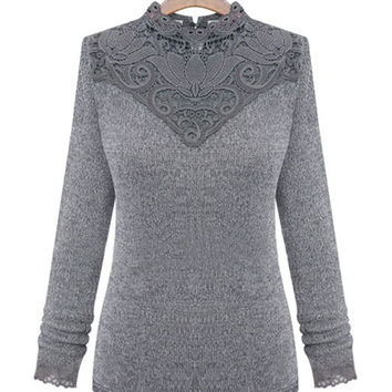 Back Buttoned Neck Long Sleeves Lace Panel Sweater