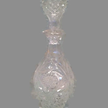 Vintage Cut Crystal Decanter, Crystal Diamond Cut Liquor Whiskey Decanter