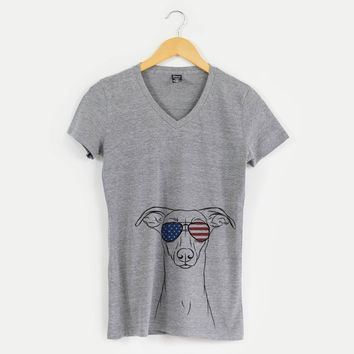 Patriotic Wallace the Whippet - American Flag Aviators - Women's Modern Fit V-neck Shirt