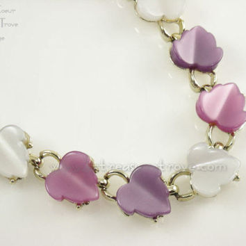 Vintage Choker Necklace Two Tone Pastel Pink Purple White Lucite Moonglow