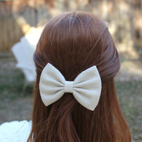 """4.5"""" off white hair bow, light beige woven textured hair bow, women hair bow, teens hair bow, hair bow, off white bow, hairbows"""