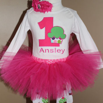 GIRLS Personalized 1st Birthday Cupcake tutu outfit/ first birthday baby/ pink green blue leg warmers/ cupcake/ shabby rose flower headband