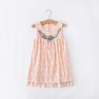 "The ""Jocelyn"" Rhinestone Pink Lace Shabby Chic Dress"