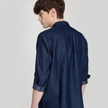 Autumn Men Long Sleeve Shirts Dark Denim Blue Male Casual Shirt Turn down Collar Shirts Clothes