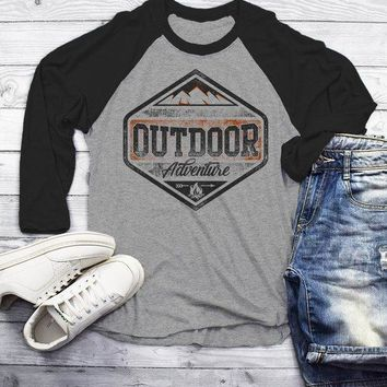Men's Outdoor Adventure T Shirt Mountains Camping Shirt Grunge Distressed Shirts 3/4 Sleeve Raglan
