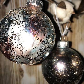 Pastel Pinks & Blues Alcohol Ink with Smattering of Silver Glitter Glass Christmas Ornaments/Bulbs -