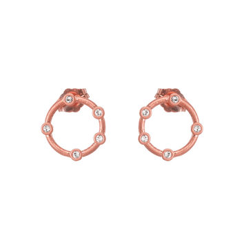 """Infinite Love"" Halo Stud Earrings, Rose Gold 