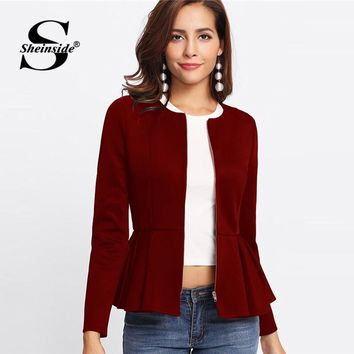 Sheinside Zip Up Box Pleated Peplum Autumn Jacket Women Ruffle Bolero Workwear 2018 Clothes Slim Outerwear Burgundy Womens Coats