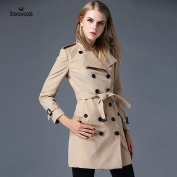 Trench Coat For Clothing Womens British Style Leisure Duster Coat Windbreaker Double Breasted Plus Size Waterproof Trench Coats