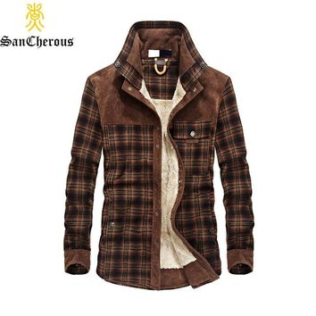 Trendy 2018 Dropshipping Men 100% Cotton Liner Casual Winter Jacke Men Outerwear Plaid Thick Wool Liner Autumn Winter Fleece Jacket AT_94_13