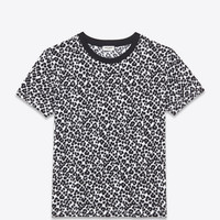 SHORT SLEEVE T SHIRT IN White and Black Panther Printed Cotton