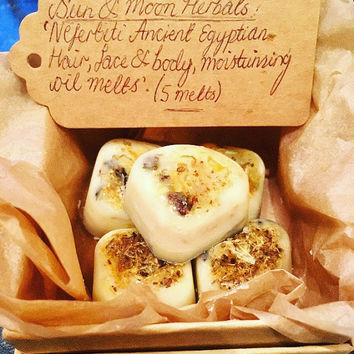 Sun & Moon Herbals 'Nefertiti Queen of The Nile', Ancient Egyptian Hair, Face and Body, Moisturising Oil Melts (5 melts).