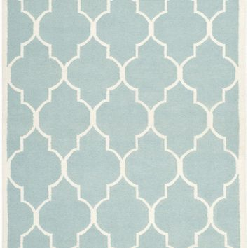 Dhurries Contemporary Indoor Area Rug Light Blue / Ivory