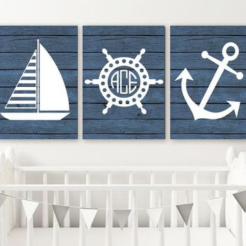 Nautical Nursery Art, Nautical Wall Decor, Anchor Sailboat CANVAS or Print, Nautical Bathroom, Monogram Boy Nautical Nursery Decor, Set of 3