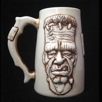 Handmade, Ceramic, Frankenstein Beer Mug, Beer Stein, Porcelain, Sculpted Relief Decoration, Halloween
