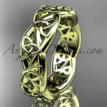 14kt yellow gold celtic trinity knot wedding band, triquetra ring, engagement ring CT7392G