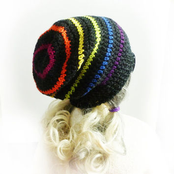 Rainbow Slouchy Beanie - Custom size Hand Crochet Charcoal Gray slouch hat - Dark Side of the Rainbow - Mens Womens Teen Gay pride LGBT Grey