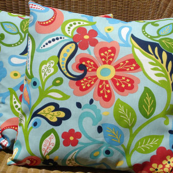 Outdoor Pillow Covers Blue Floral Pillow by KaysGeneralStore