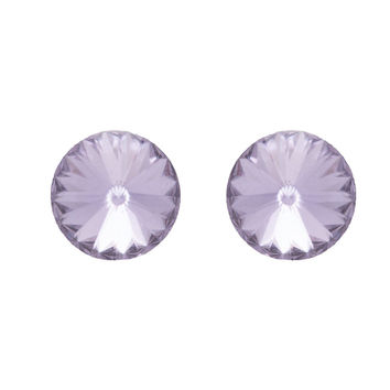 Crystal Stud Earrings In Lilac