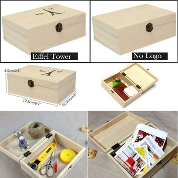 1PCS Plain Unpainted Natural Wooden Lock Jewelry Storage Box Postcard Tool Storage Box Memory Small Item Craft Box Gifts