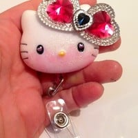 Material Girl Hello Casting Kitty Id Badge Holder w/ Retractable Reel