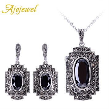 Ajojewel Vintage Style Black CZ Big Gray Austrian Crystal Jewelry Sets For Women Fashion Jewellery Red Necklace Earrings Sets