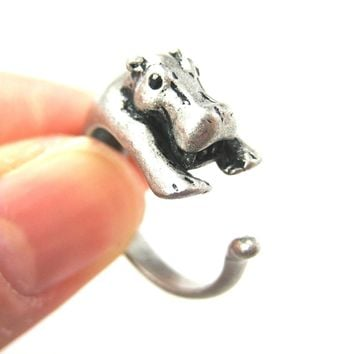 Hippo hippopotamus Animal Wrap Ring in Silver - Sizes 4 to 9 Available