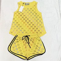 GUCCI Summer Popular Women Casual Double G Diamond Letter Sleeveless Top Shorts Set Two-Piece Yellow
