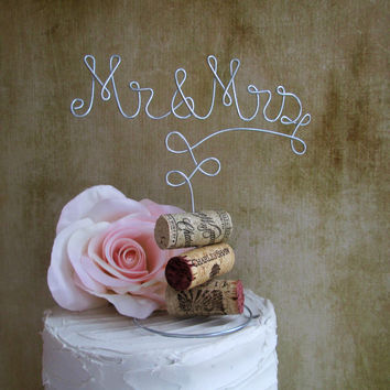 Mr & Mrs | Cork Cake Toppers