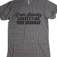 Silently Correcting Your Grammar-Unisex Athletic Grey T-Shirt