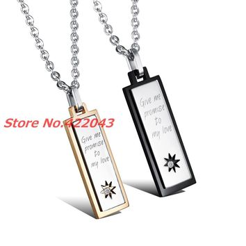 "New Fashion 316L Stainless Steel "" give me promise to my love "" Couple's Pendant Necklace For Mens Womens  Jewelry Xmas Gift"