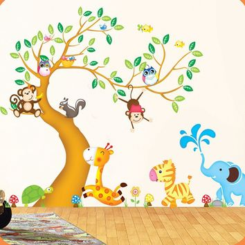 Oversize Jungle Animals Tree Monkey Owl Removable Wall Decal Stickers Nursery Room Decor wall stickers
