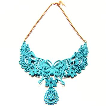 Delicate Butterfly Flower Choker Necklace
