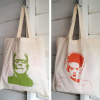 Frankenstein and Bride Halloween DOUBLE SIDED Tote Bag Natural Cotton Movie Monster Rockabilly