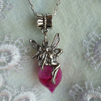 Silver fairy necklace with tiny vial of pink fairy dust
