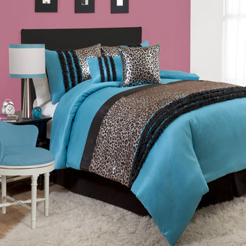 Lush Decor Kenya Black/Blue 6-piece Comforter Set | Overstock.com