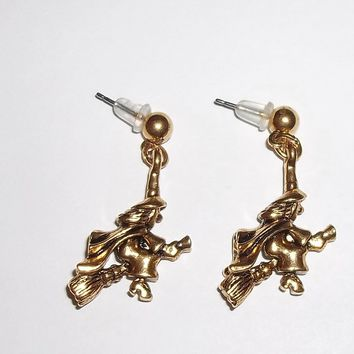 Vintage 3D Witch Solid Brass Dangle Post Back Earrings
