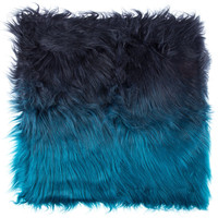 """18"""" x 18"""" Ombre Blue Fur Pillow Cover 