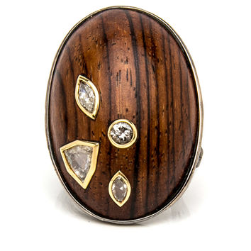 Wood with Diamonds Twig Ring