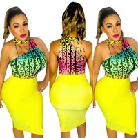 Women Sexy Leopard Print Yellow Sleeveless Bodycon Dress