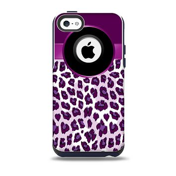 The Purple Leopard Monogram Skin for the iPhone 5c OtterBox Commuter Case
