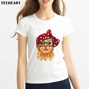 TEEHEART Watercolor Painting Cat Rabbit Fox Old Time Hipster Summer Women O-neck Short Sleeve Print T-shirt Lady Tops Tees pc457