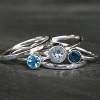 Calm Waters Stacking Rings Sterling Silver, Aquamarine Swiss Blue & London Blue Topaz, Set of Five Stackable Rings, Stack, Gemstone Jewel
