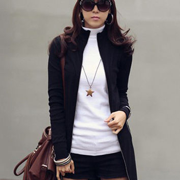 Black Long Sleeve Turtle Neck Zip-Up Coat Mini Dress