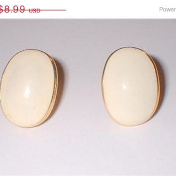 SUMMER SALE Vintage Napier Gold Tone and Off  White Enamel Oblong Clip On Earrings