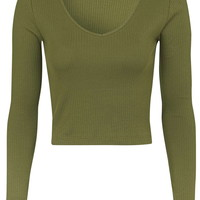 V-Neck Ribbed Top - Tops - Clothing