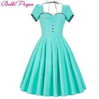 Belle Poque Womens Dresses 2017 50s Retro Vintage Short Sleeve Plus Size Turquoise Party Picnic Rockabilly Dress Women Clothes