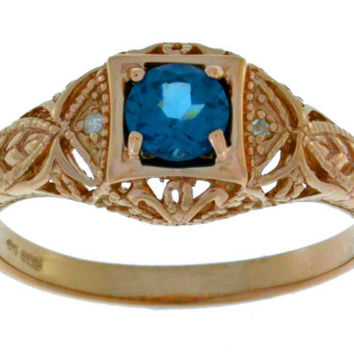 14Kt Rose Gold Plated London Blue Topaz & Diamond Round Ring