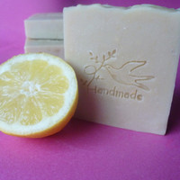 Natural Handmade Buffalo Milk Soap Bar with lemon and citronella essential oil and White Kaolin Clay