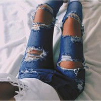 Fashion Edgy Distressed Ripped Holes Pants Trousers Jeans-1